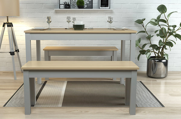 Ohio Dining Table & Bench Set - Oak/Grey