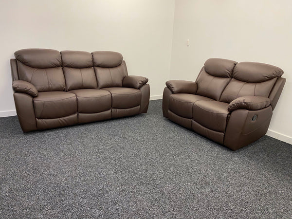 Virage 3 Seater & 2 Seater Manual Reclining Sofa Set - Chocolate Brown