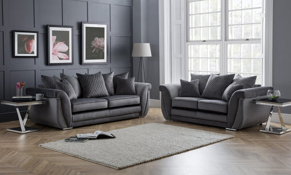 Luxe 3 Seater & 2 Seater Pillow Back Sofa Set