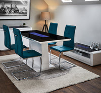 Matrix Dining Table & 4 Teal Chairs