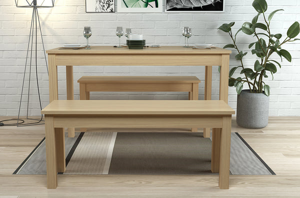 Ohio Dining Table & Bench Set - Oak