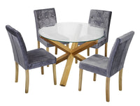 Oporto Dining Table & 4 Paris Silver Chairs