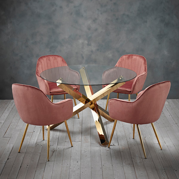 Capri Gold Dining Table & 4 Pink Chairs