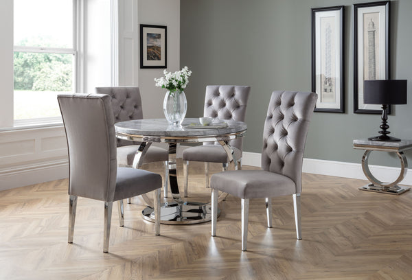 Philipe Round Table  + 4 Malta Grey Chairs