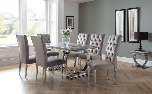 Philipe Table 1600mm + 6 Malta Grey Chairs