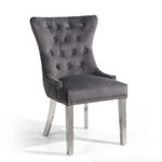 Lionhead Ring Back Brushed Velvet Grey Accent Chair With Stainless Steel Legs