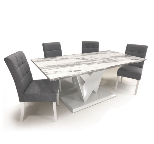 Saturn Medium 150cm Grey/White Dining Table & 4 Moseley Chairs