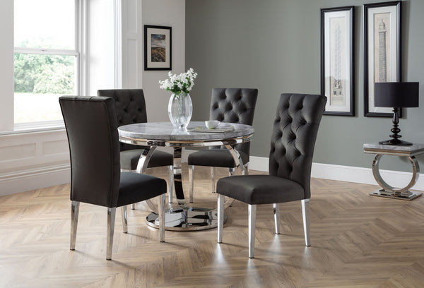 Philipe Round Table  + 4 Malta Black Chairs