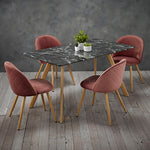 Venice Black Dining Table & 4 Pink Chairs