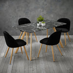 Venice Black Dining Table & 4 Black Chairs