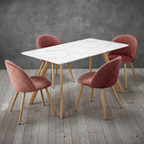 Venice White Dining Table & 4 Pink Chairs