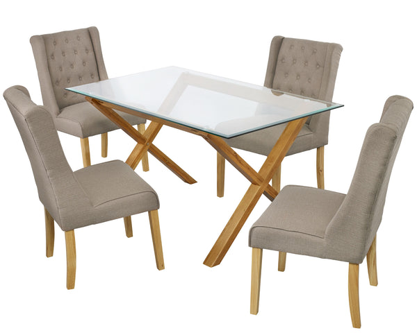 Cadiz Dining Table & 4 Verona Beige Chairs
