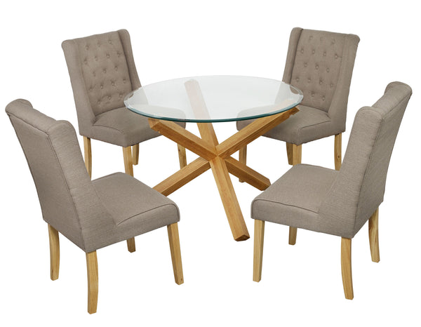Oporto Dining Table & 4 Verona Beige Chairs