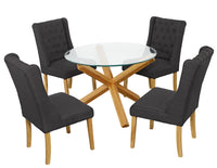 Oporto Dining Table & 4 Verona Grey Chairs