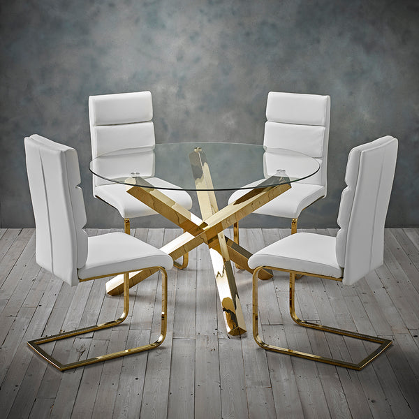 Capri Gold Dining Table & 4 White Antares Chairs