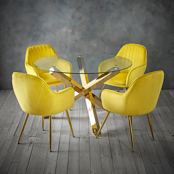 Capri Gold Dining Table & 4 Yellow Chairs