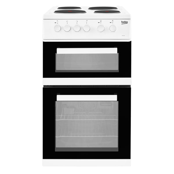 Beko KD533AW Electric Cooker with Solid Plate Hob - White