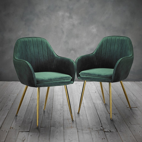 Lara Dining Chairs (Pack of 2) - Forest Green