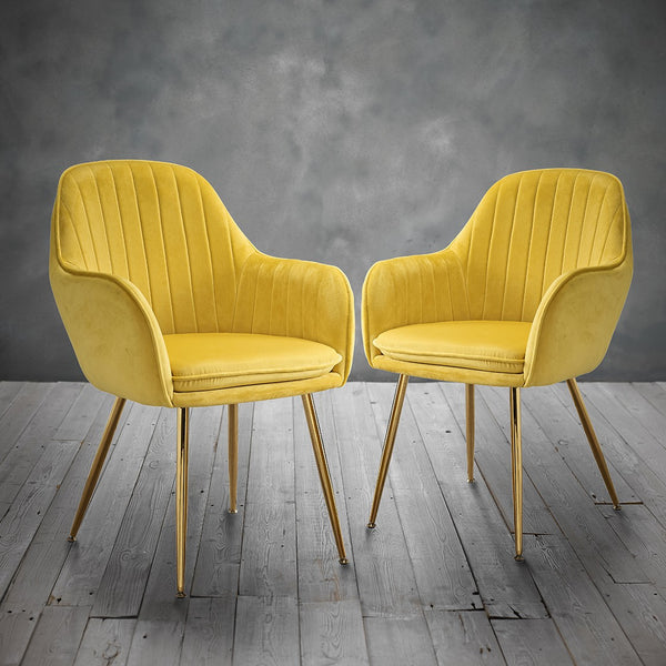 Lara Dining Chairs (Pack of 2) - Ochre Yellow