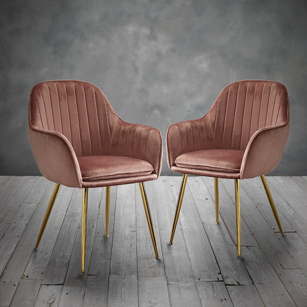 Lara Dining Chairs (Pack of 2) - Pink
