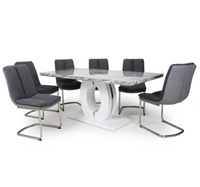 Neptune Large 180cm Grey/White Dining Table & 6 Triton Chairs