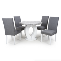 Neptune 100cm Round Grey/White Dining Table & 4 Randall Chairs