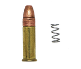 AR-15 lightened bolt catch spring with .22lr round for size comparison