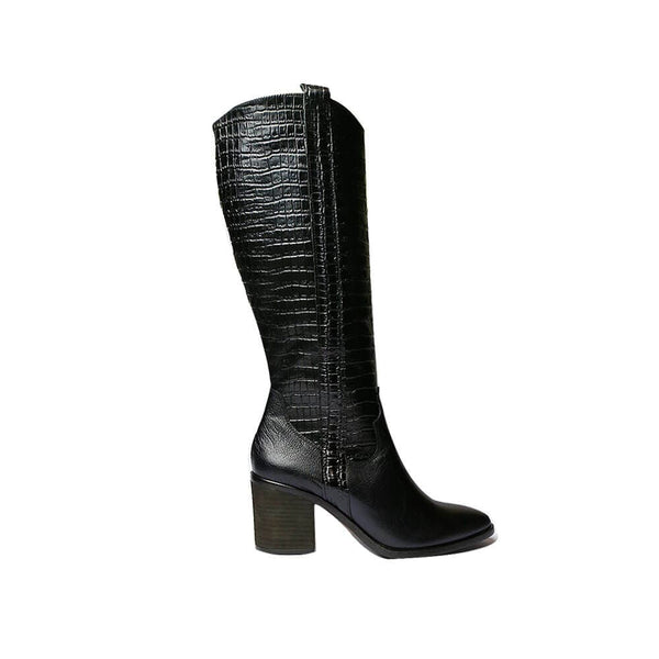 BOTINES Black leather croc boots STYLETTO