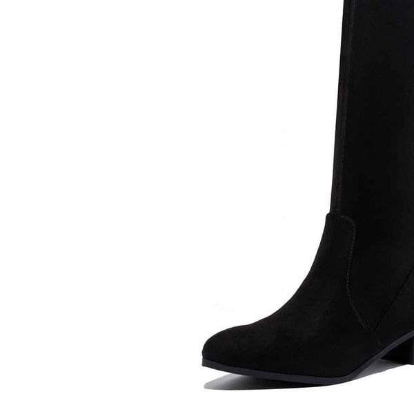 BOTINES Black Suede Flat Boot STYLETTO