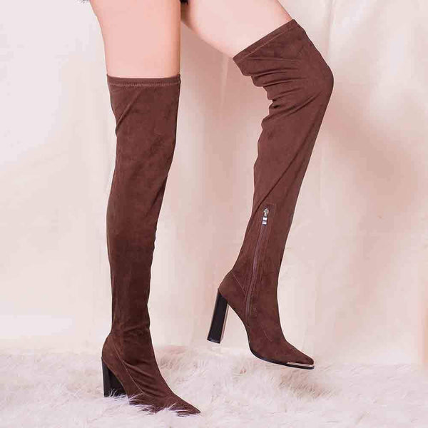 BOTINES Brown Suede Over the Knee Boots STYLETTO