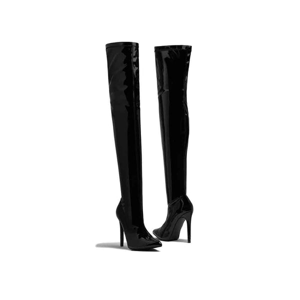 BOTINES Patent Over the Knee Boots STYLETTO