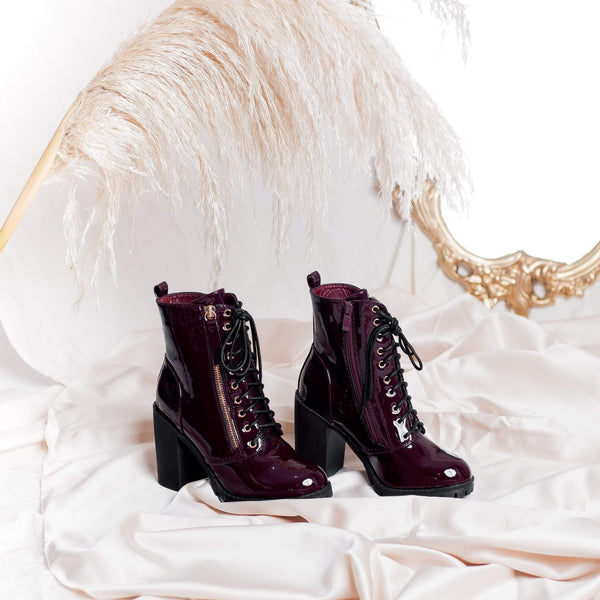 BOTINES Patent wine booties STYLETTO