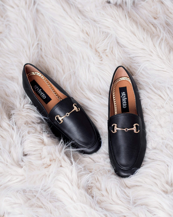 SANDALIAS Black Loafers STYLETTO