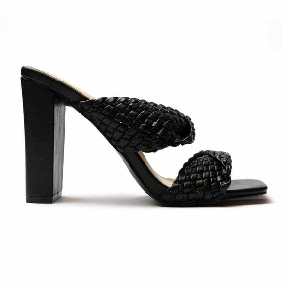 SANDALIAS Braided Black Sandal STYLETTO