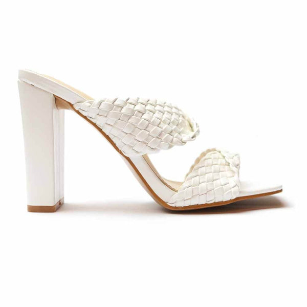 SANDALIAS Braided White Sandal STYLETTO