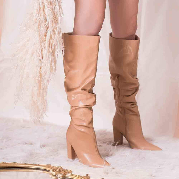 SANDALIAS Camel Slouchy Boots STYLETTO