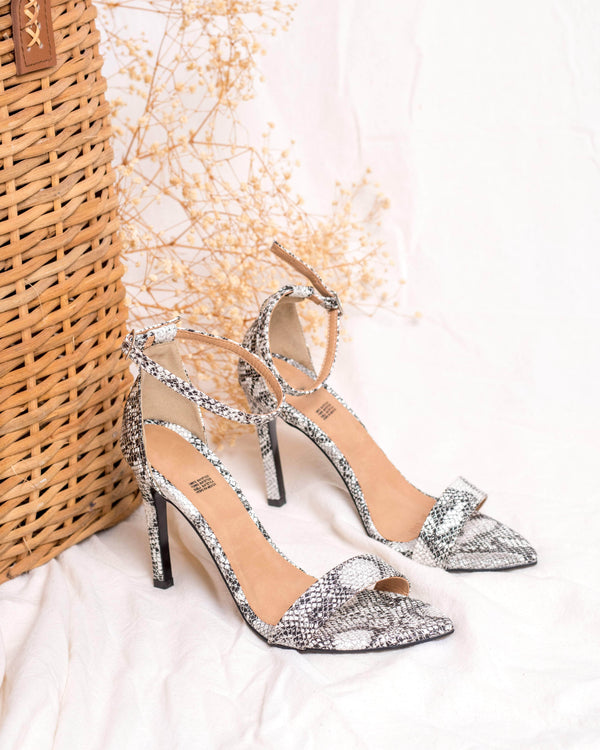Silver Pointy Snake Heels STYLETTO