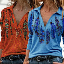 Load image into Gallery viewer, Hot Sale-Buy 3 Free Shipping-Orange western feather lapel graphic tees