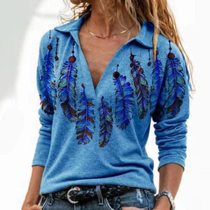 Hot Sale-Buy 3 Free Shipping-Orange western feather lapel graphic tees