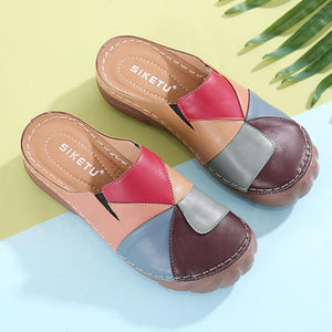 Women Comfortable Slip On Color Block Mules Slippers
