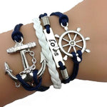 "Navy Blue ""You Are The Anchor of My Love"" Bracelet"