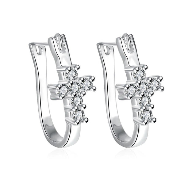 Swarovski Crystal Pave Cross Earring in White Gold Plated