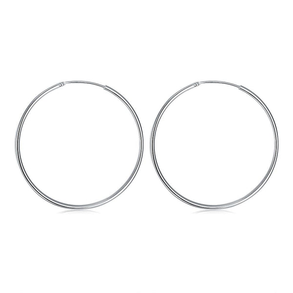 Classic Hoop 5mm Earring in White Gold Plated