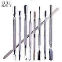 Full Beauty Nail Art Cuticle Remover Sets Steel Double-ended Manicure Pedicure Pusher Fork Knife Trimmer Tools 9pcs/kit CH1-9