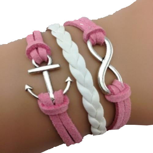 Infinity Anchor Pink Bracelet