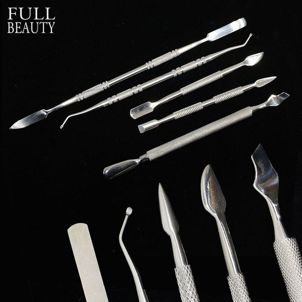 Full Beauty 5pcs Nail Cuticle Pusher Stainless Steel Remover Double Head Knife Spoon for Nails Care Manicure Accessory CH236x5
