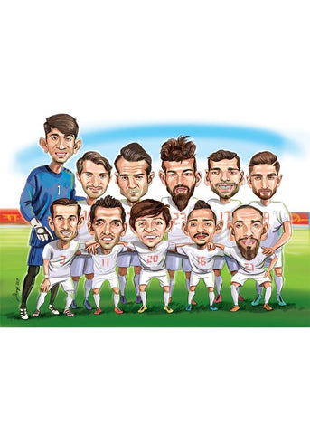 Group/Team Caricature - Abnoos Caricature, face caricature, gift caricature, high-quality hand drawn caricature