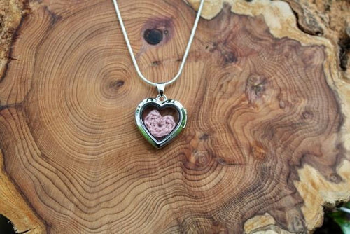 2nd wedding anniversary necklace - pink heart in locket