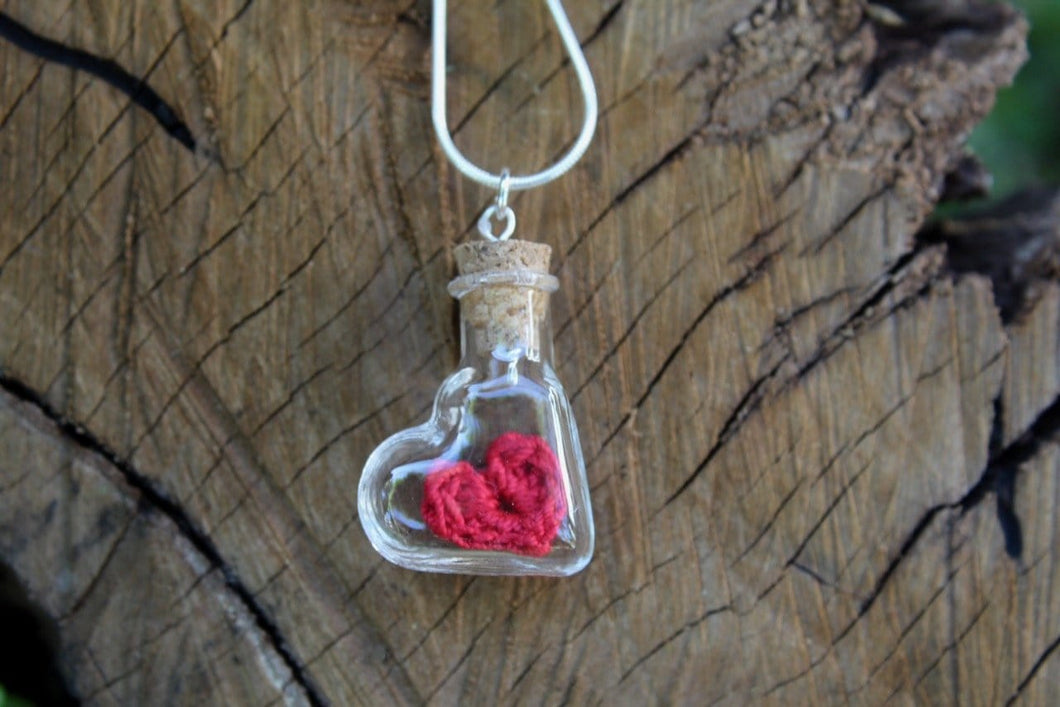 2nd anniversary necklace - red cotton heart in bottle