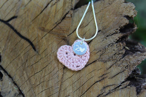 2nd anniversary cotton necklace - light pink heart and tag